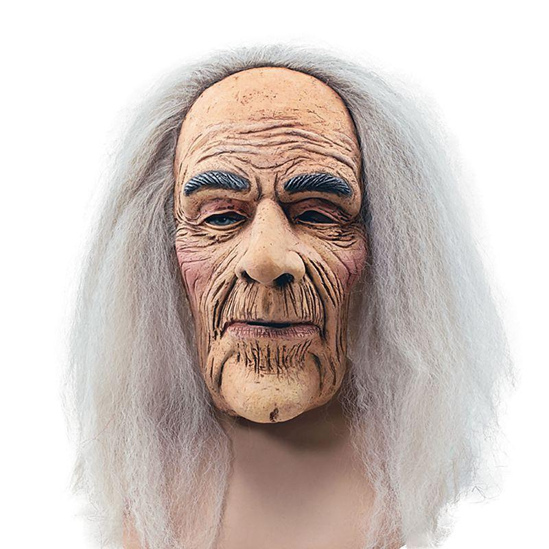 Mens Creepy Old Man Mask & Hair (Rubber Masks) - Male - One Size Halloween Costume