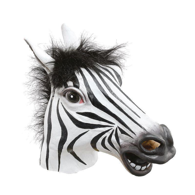 Mens Zebra Mask (Rubber Masks) - Male - One Size Halloween Costume
