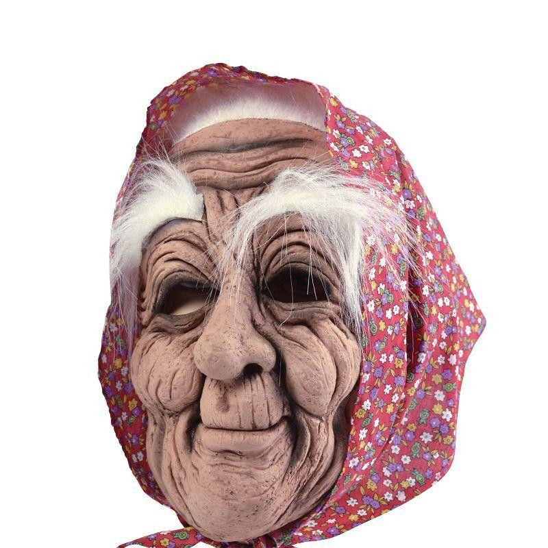 Womens Old Woman + Headscarf (Rubber Masks) - Female - One Size Halloween Costume