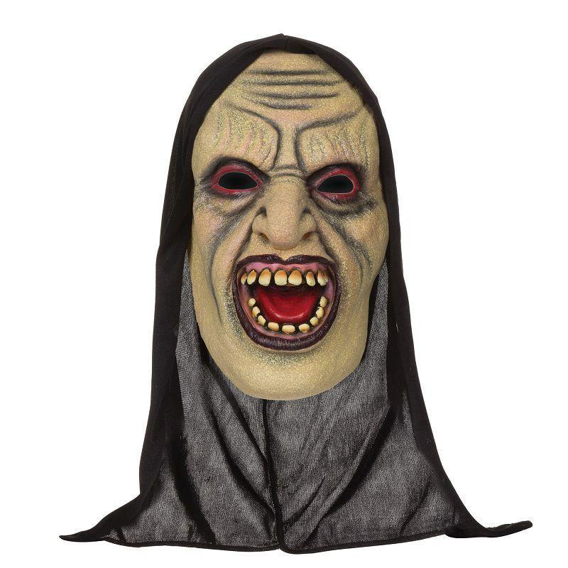 Mens Demon Open Mouthed Mask W/Hood. (Rubber Masks) - Male - One Size Halloween Costume
