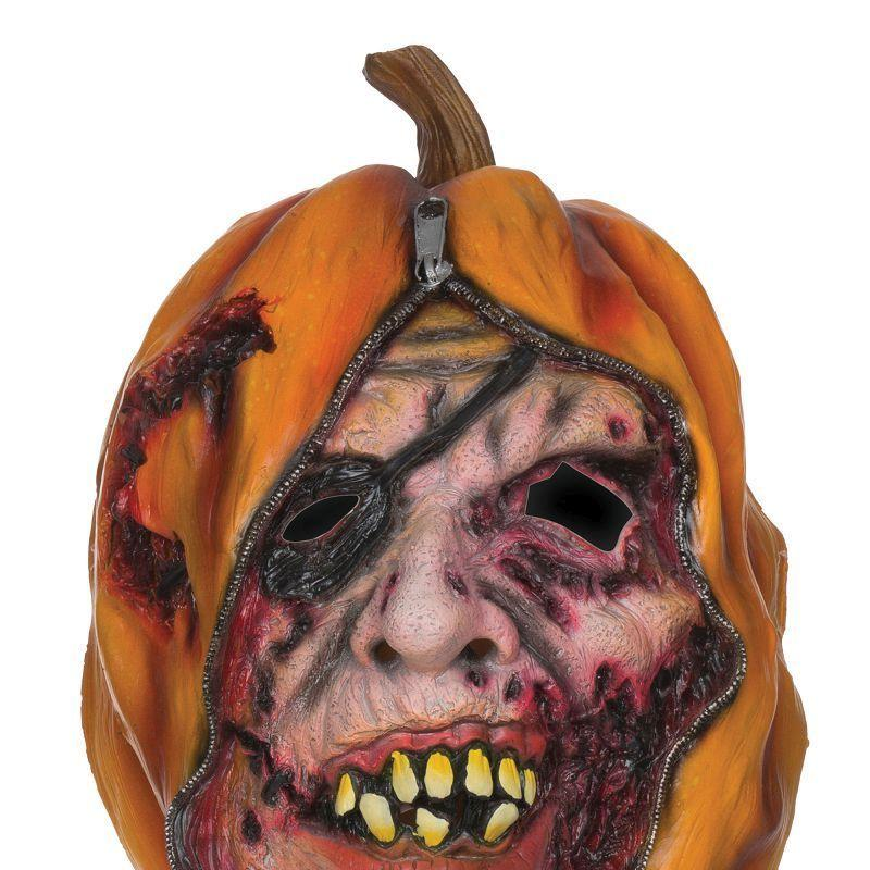 Mens Pumpkin Mask Unzipped. (Rubber Masks) - Male - One Size Halloween Costume