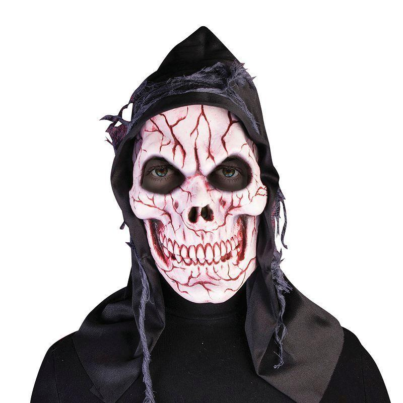 Hooded Ghost Skull Mask (Rubber Masks) - Male - One Size