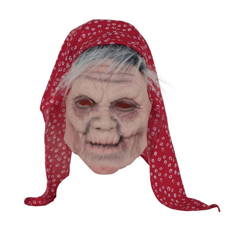 Old Lady Mask W/Head Scarf (Rubber Masks) - Unisex - One Size Fits Most