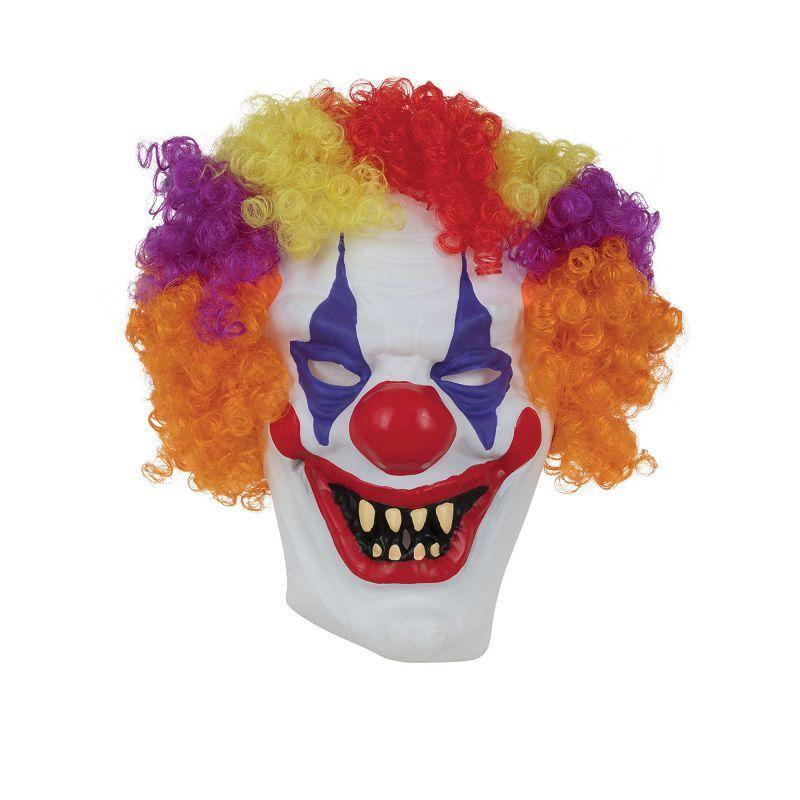 Clown Mask W/Hair (Rubber Masks) - Unisex - One Size Fits Most