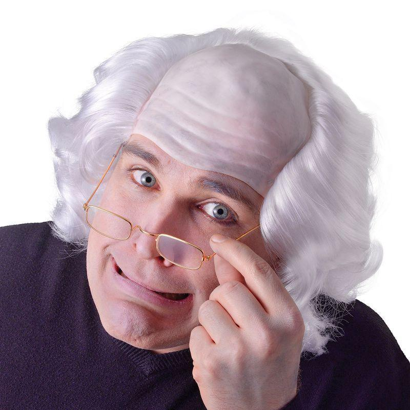 Mens Old Man Wig. White Hair (Wigs) - Male - One Size Halloween Costume
