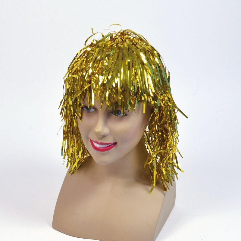 Tinsel Wig. Gold (Wigs) - Unisex - One Size