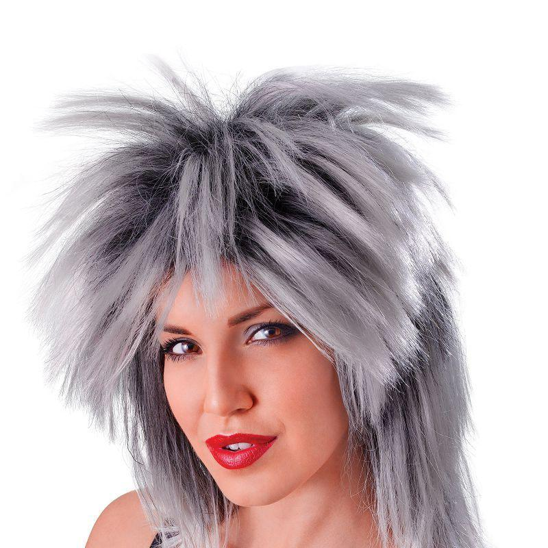 Womens Tina Two Tone Wig. Grey/Black (Wigs) - Female - One Size Halloween Costume