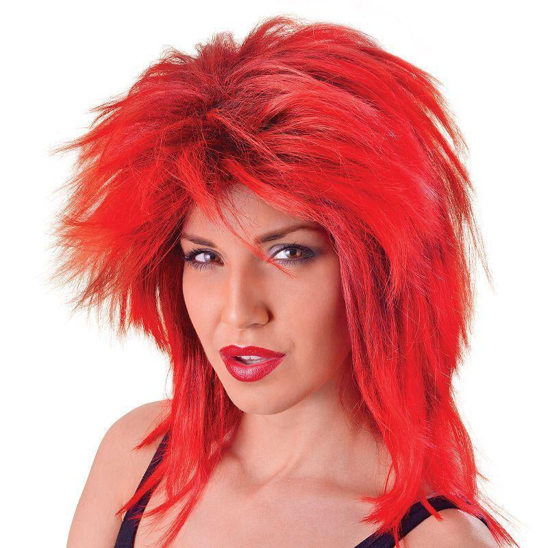 Womens Tina Two Tone Wig. Red/Black (Wigs) - Female - One Size Halloween Costume