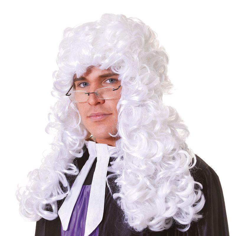 Mens Judge Wig. Budget. White (Wigs) - Male - One Size Halloween Costume