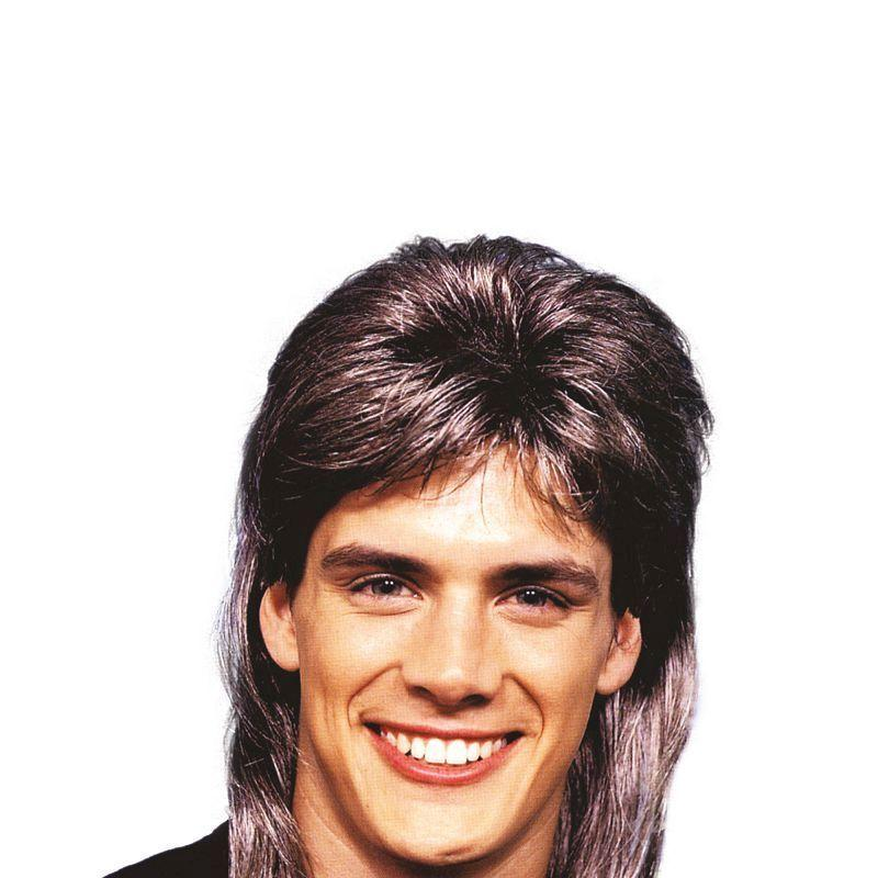 Mens Mullet Wig Deluxe. Brown/Blonde (Wigs) - Male - One Size Halloween Costume