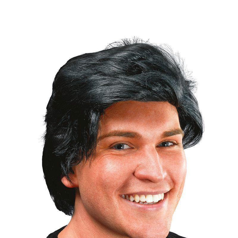 Mens Mans Wig Side Parting. Black (Wigs) - Male - One Size Halloween Costume