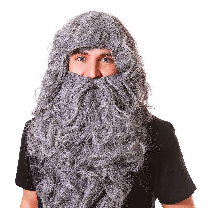 Mens Wizard Wig & Beard Set.grey Budget (Wigs) - Male - One Size Halloween Costume