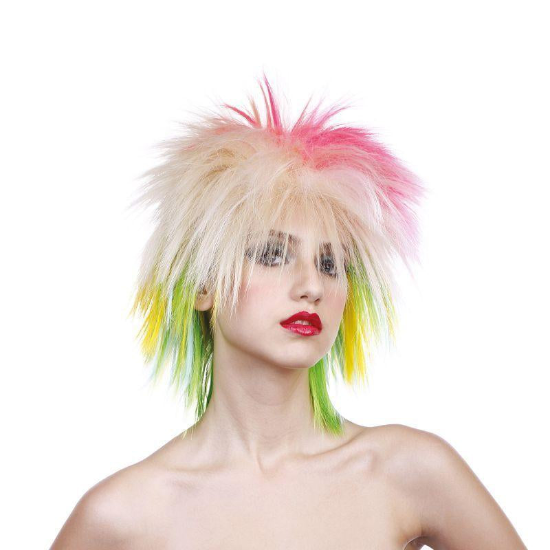 Womens 80s Female Multi Coloured Wig (Wigs) - Female - One Size Halloween Costume