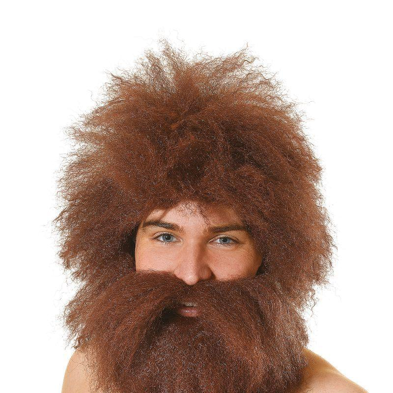 Mens Caveman Wig + Beard Set (Wigs) - Male - One Size Halloween Costume