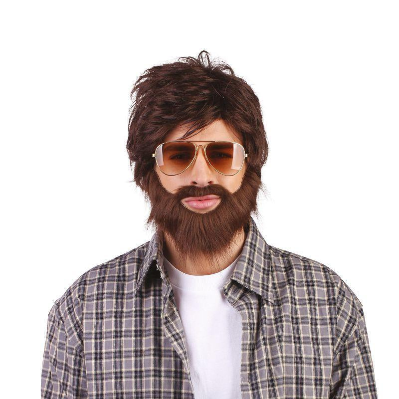Mens Hangover Wig + Beard. (Wigs) - Male - One Size Halloween Costume
