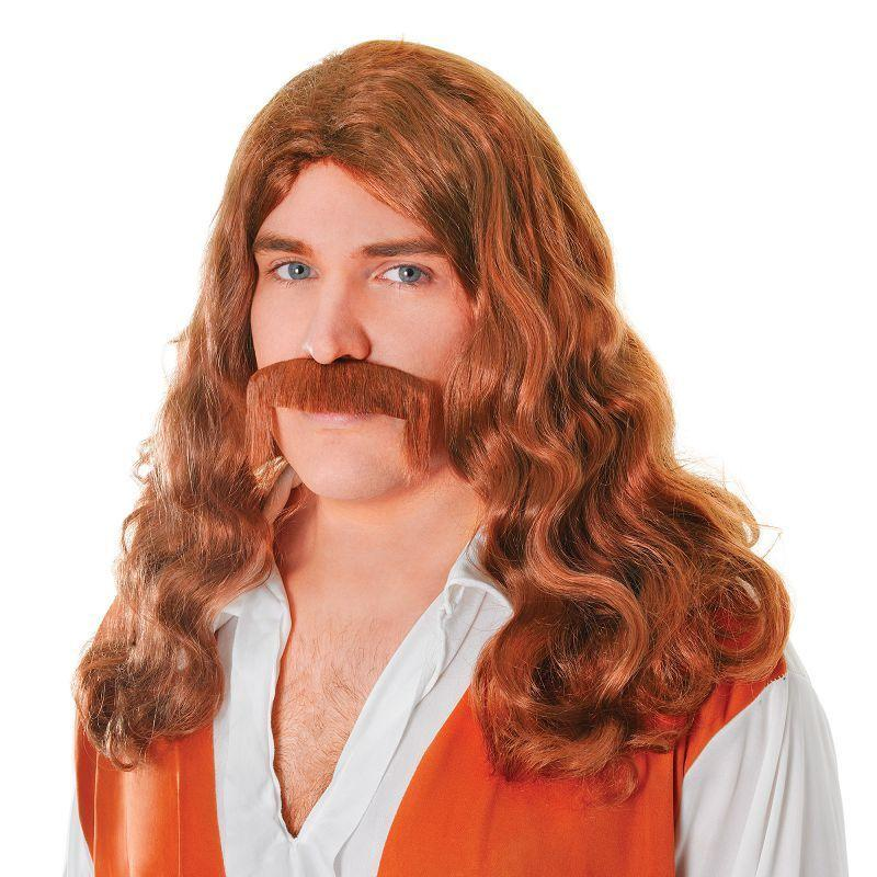 Mens Hippy Man Wig + Tash Set. Brown (Wigs) - Male - One Size Halloween Costume