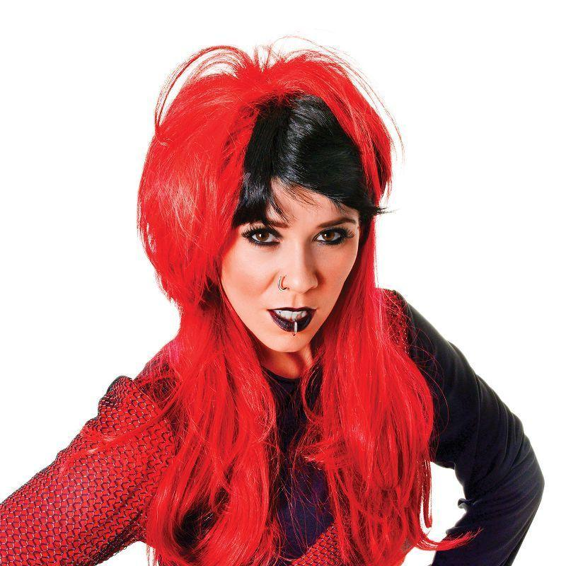 Womens Punk Wig Ladies. Red/Black (Wigs) - Female - One Size Halloween Costume