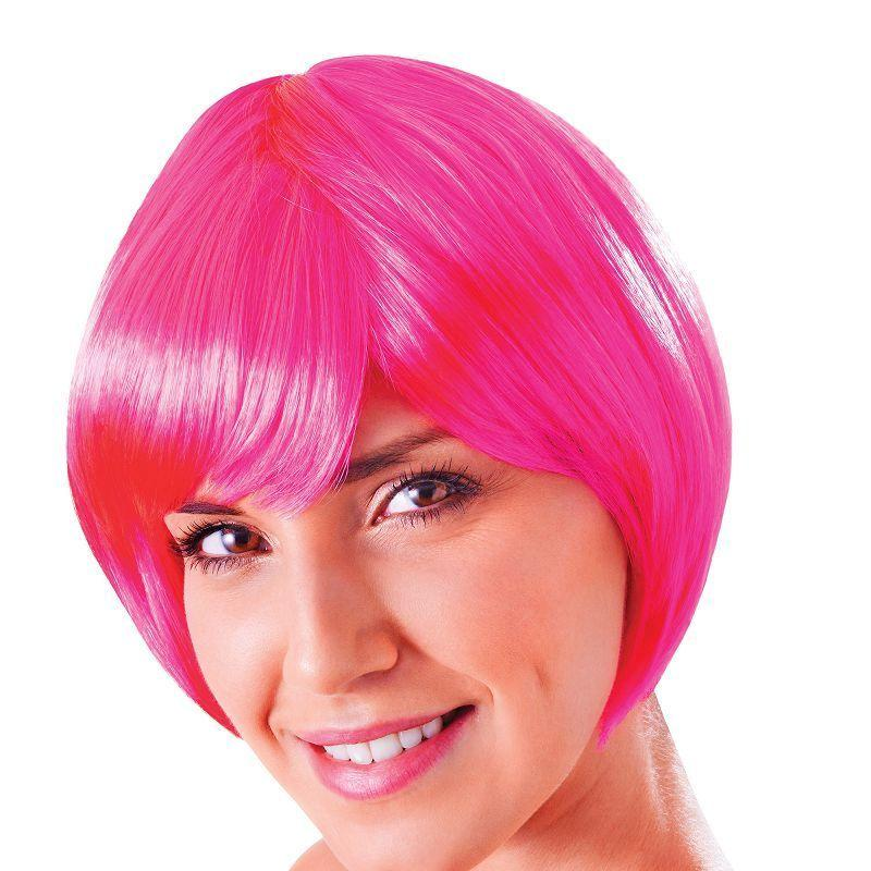 Womens Flirty Flick. Neon Pink. (Wigs) - Female - One Size Halloween Costume