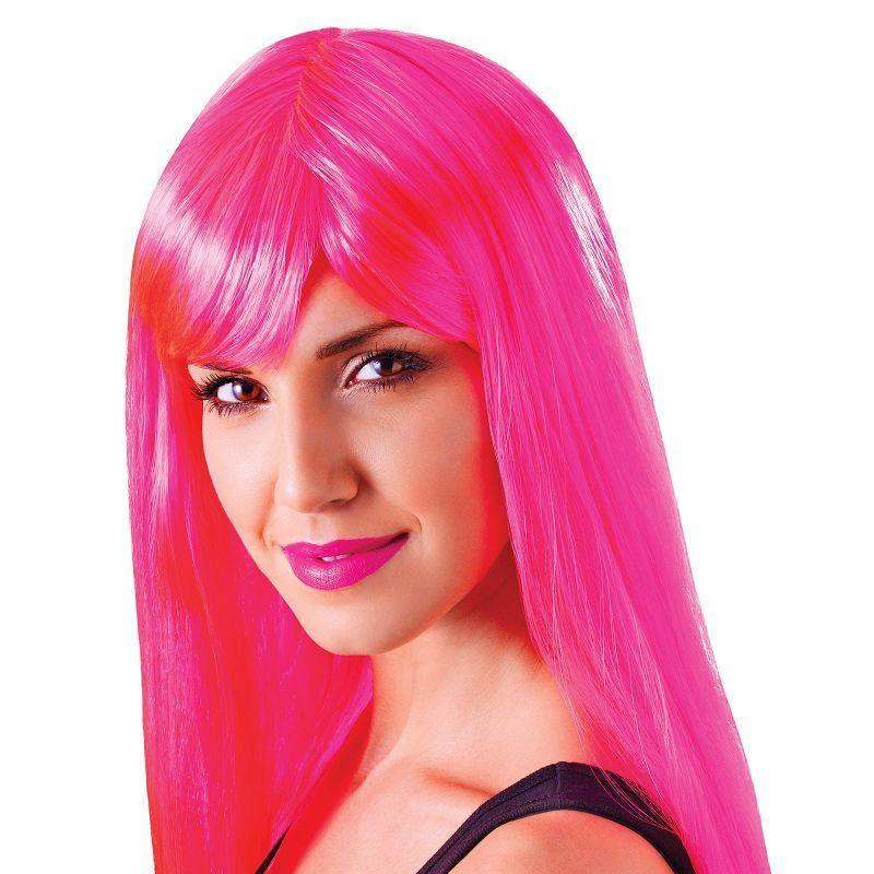 Womens Passion Long. Neon Pink. (Wigs) - Female - One Size Halloween Costume