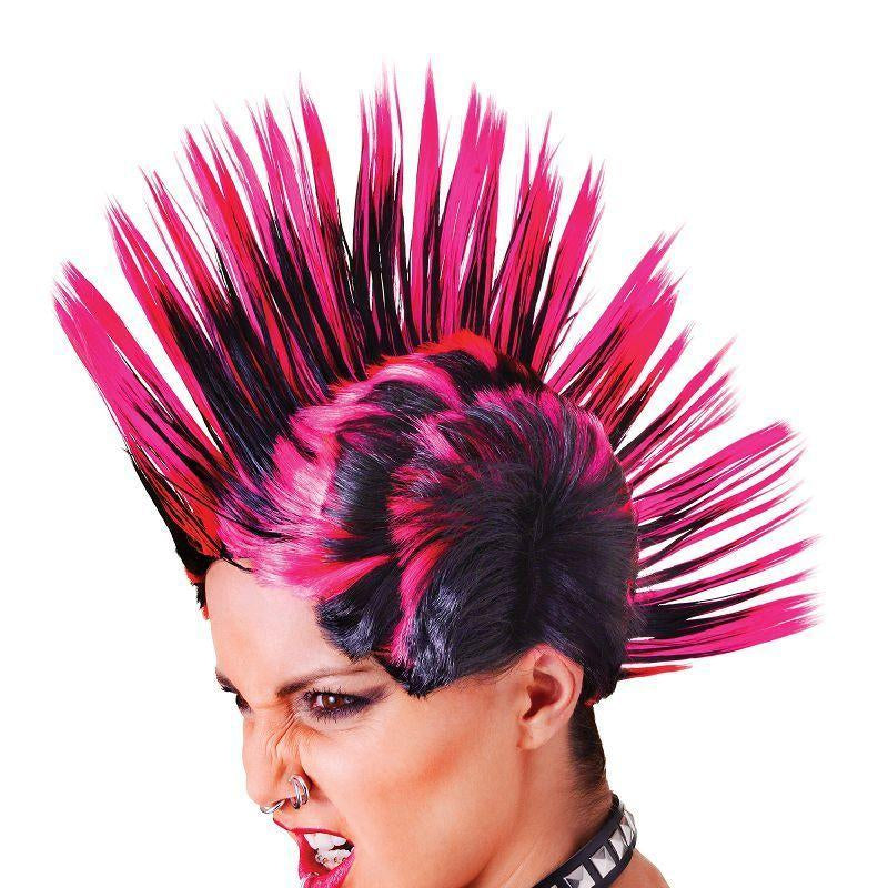 Womens Mohican (Female) Pink/Black. (Wigs) - Female - One Size Halloween Costume