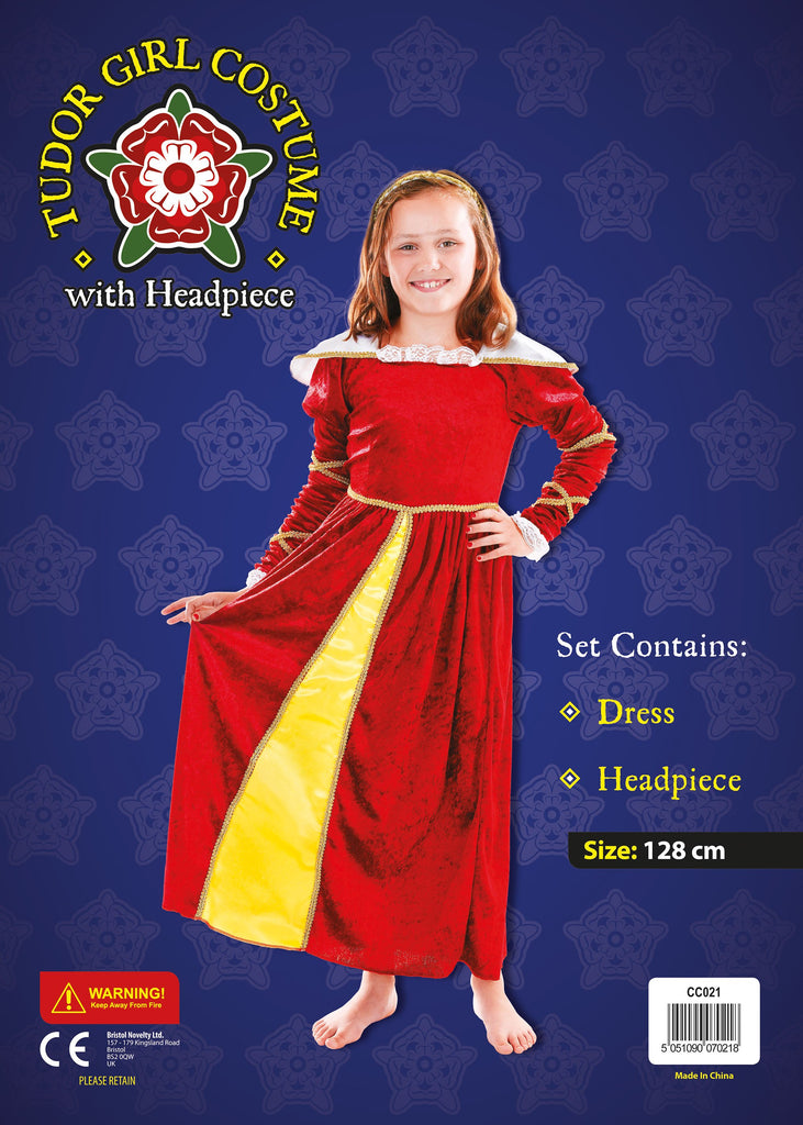 Tudor Girl 128cm Childrens Fancy Dress Costume Girls 128cm Red Yellow Fancy Dress portsmouth party Halloween