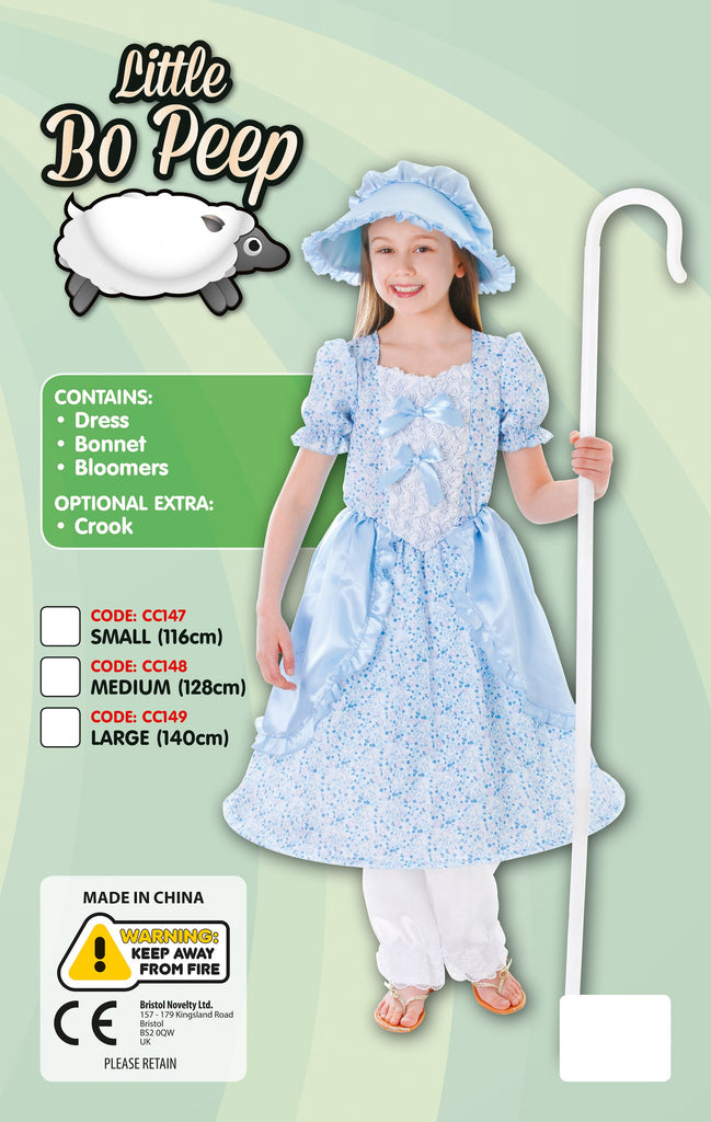Little Bo Peep Dress, Bloomers, Bonnet Medium Childrens Costumes Girls blue