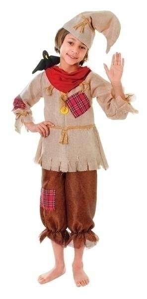 Scarecrow Top, Trousers, Hat Small Childrens Costumes Boys brown white