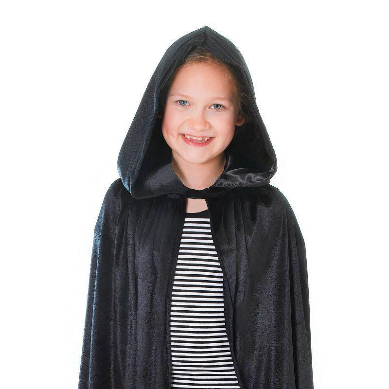 Velvet Black Hooded Cloak 88cm Childrens Costumes - Unisex - 88cm