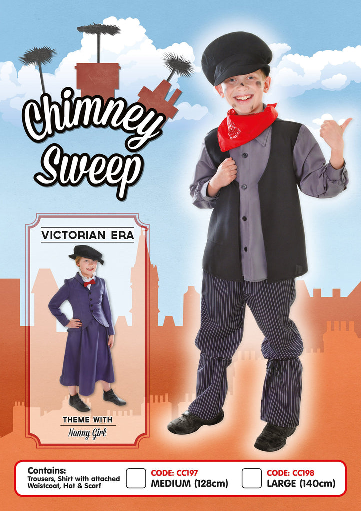 Chimney Sweep Large Childrens Fancy Dress Costumes Boys Black
