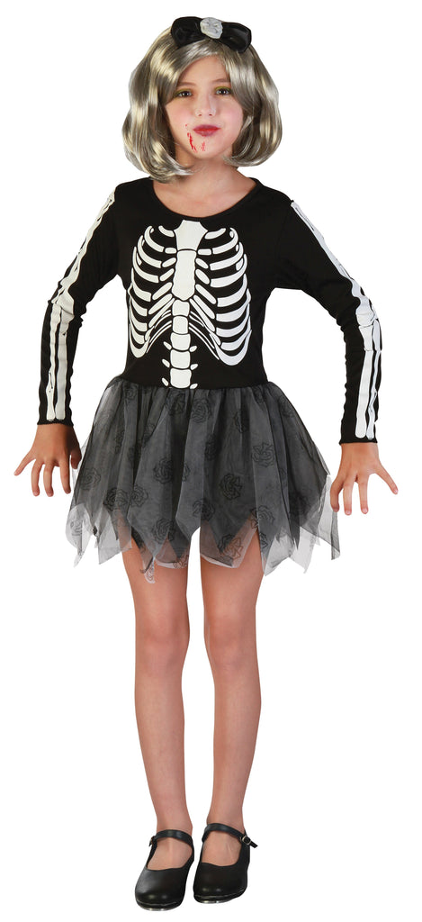 Skeleton Girl Large Childrens Fancy Dress Costumes Girls black white