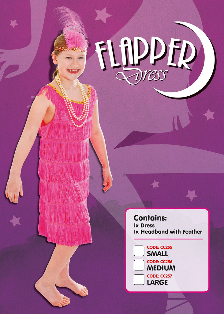 Flapper Dress Pink Medium Childrens Fancy Dress Costumes Girls