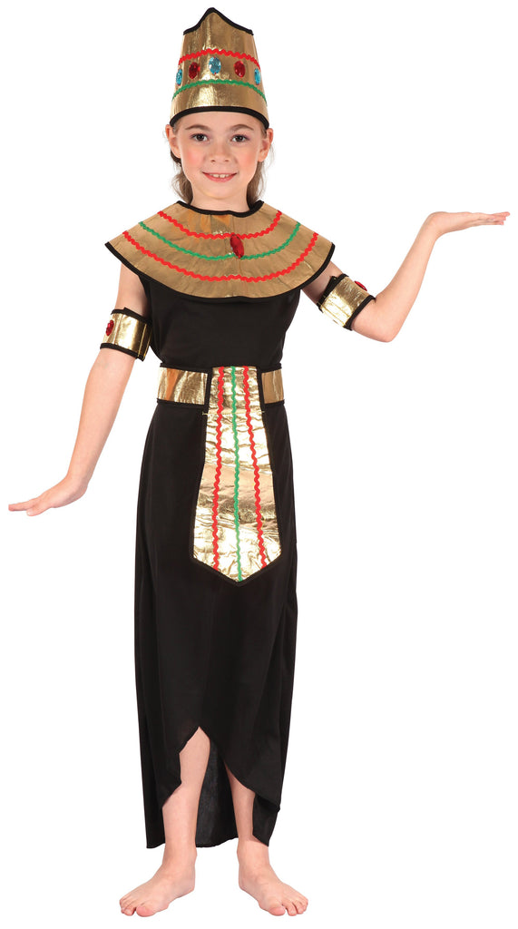 Queen of the Nile (S) Pack Contents : Dress, Headpiece, Collar W Attached Cape, Armbands Belt Female Kids To fit child of height 110cm 122cm Colour : Black Gold