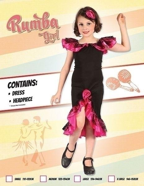 Rumba Girl Black Pink (L) Pack Contents : Dress, Headpeice Female Kids To fit child of height 134cm 146cm Colour : Black Pink