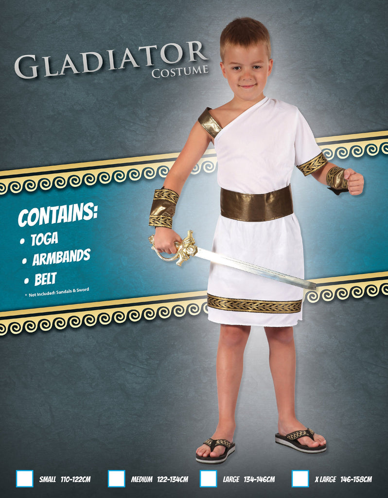 Gladiator (M) Pack Contents : Toga, Armbands, Belt Male Kids To fit child of height 122cm 134cm Colour : White
