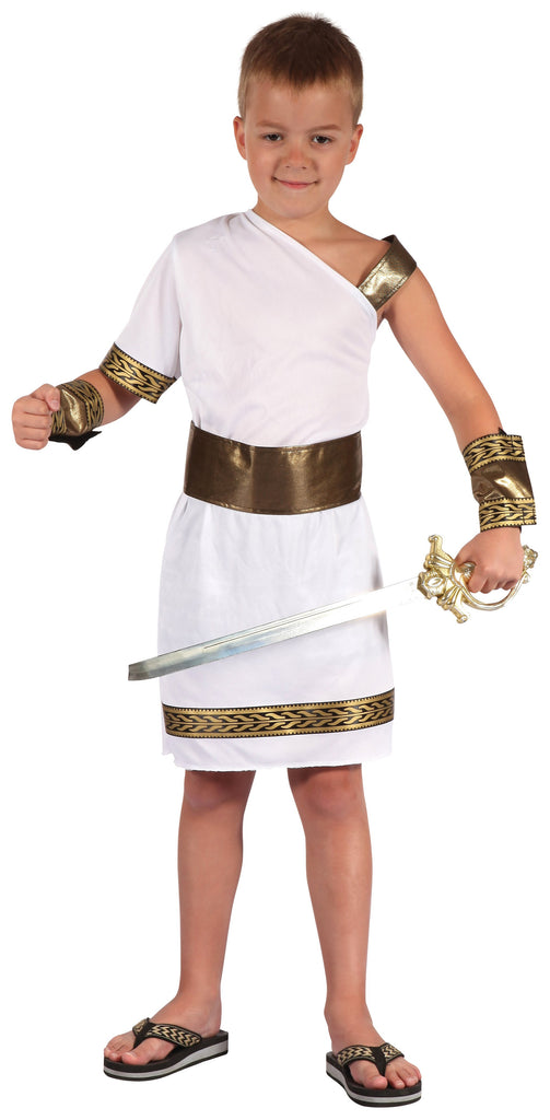 Gladiator (S) Pack Contents : Toga, Armbands, Belt Male Kids To fit child of height 110cm 122cm Colour : White