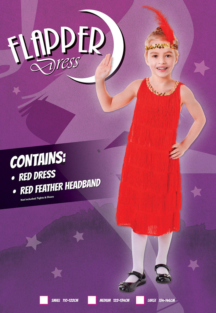 Flapper Dress Red (M) Pack Contents : Dress, Feather Headband Female Kids To fit child of height 122cm 134cm Colour : Red