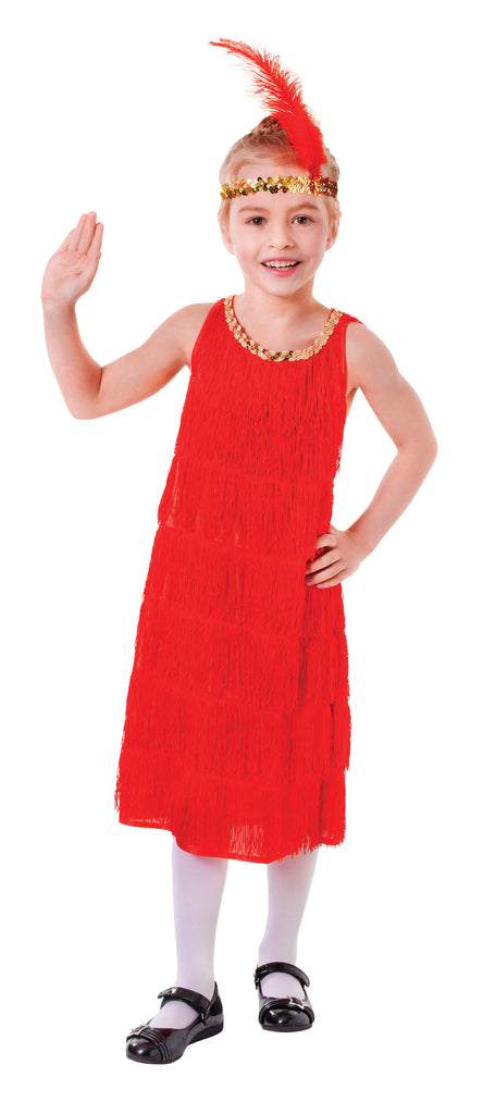 Flapper Dress Red (S) Pack Contents : Dress, Feather Headband Female Kids To fit child of height 110cm 122cm Colour : Red