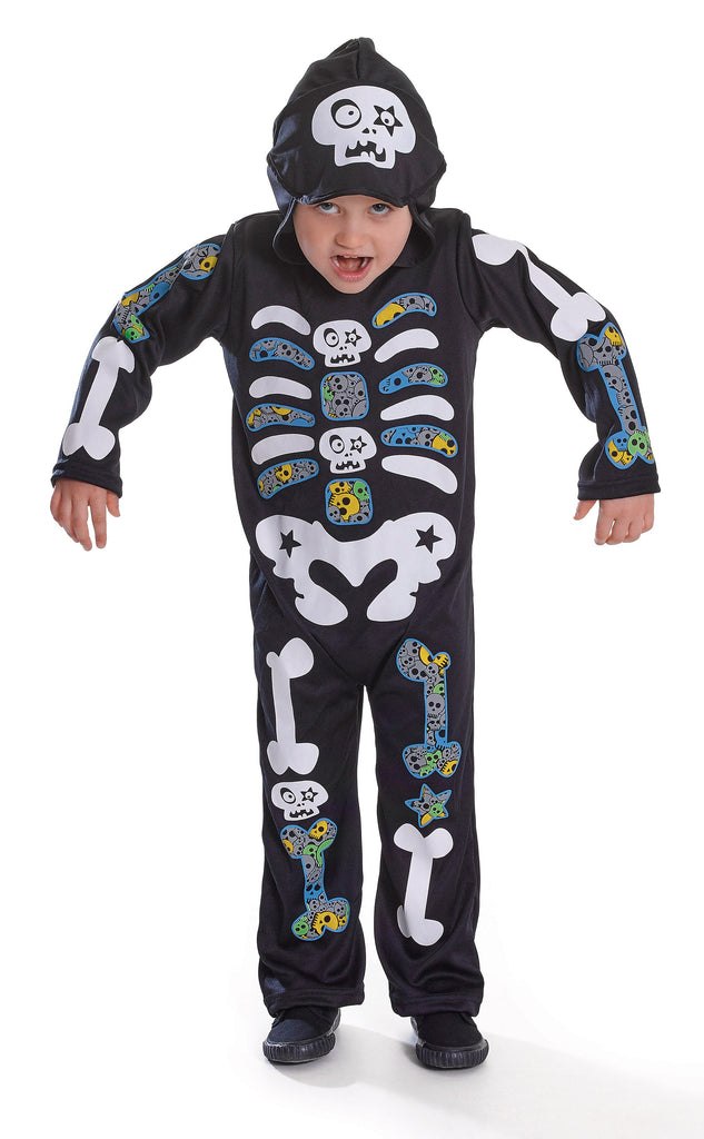 Skeleton Boy Hooded Colour Bones (S) (Childrens Costumes) Male Small
