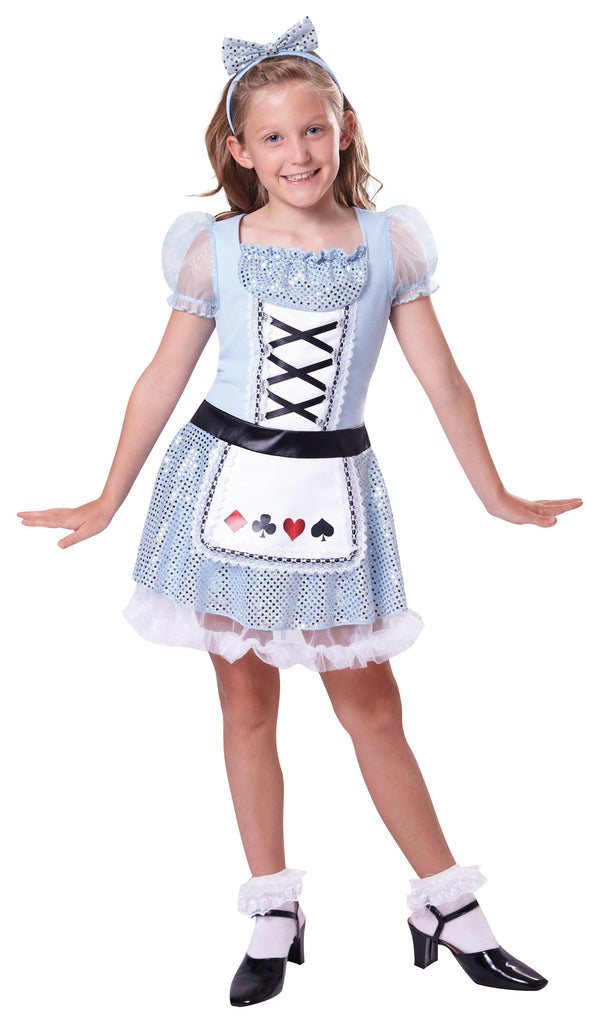 Card Girl (S) Pack Contents : Dress, Headpiece Female Kids To fit child of height 110cm 122cm Colour : Blue