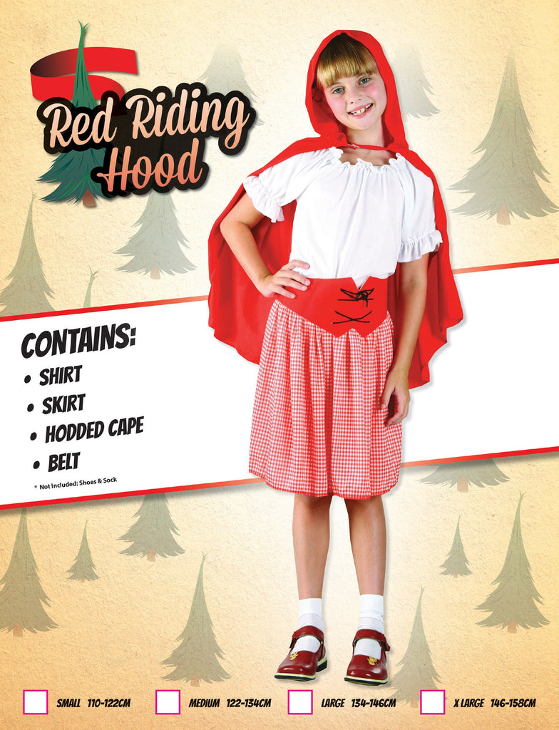 Red Riding Hood (XL) prepacked Pack Contents : Shirt, Skirt with belt, Cape Female Kids To fit child of height 146cm 159cm Colour : Red White