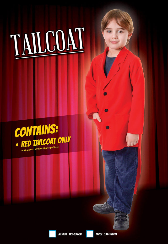 Tailcoat Red (L) Pack Contents : Tailcoat Male Kids To fit child of height 134cm 146cm Colour : Red
