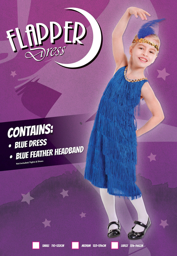 Flapper Dress Blue (L) Pack Contents : Dress, Feather Headband Female Kids To fit child of height 134cm 146cm Colour : Blue