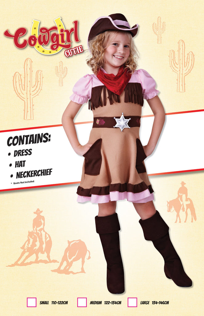 Cowgirl Cutie (M) Pack Contents : Dress, Hat, Neckerchief Female Kids To fit child of height 122cm 134cm Colour : Pink