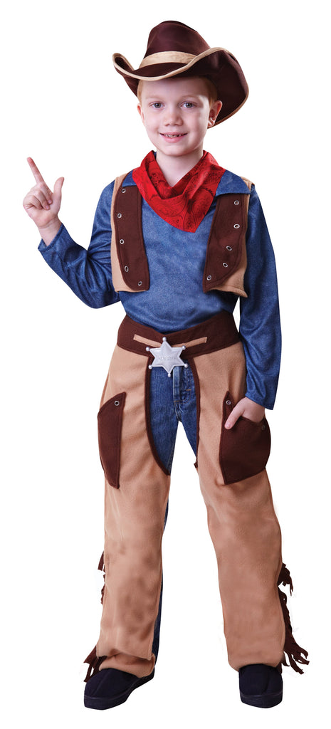 Cowboy Wild West (S) Pack Contents : Top (attached waistcoat), Chaps, Hat, Neckerchief Male Kids To fit child of height 110cm 122cm Colour : Blue