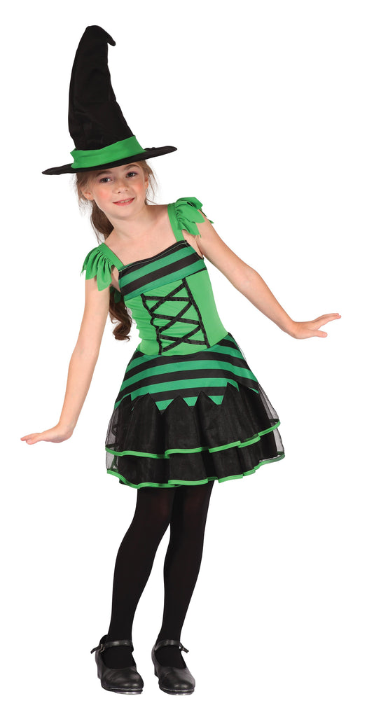 Witch Green Black (M) Pack Contents : Dress, Belt Hat Female Kids To fit child of height 122cm 134cm Colour : Green