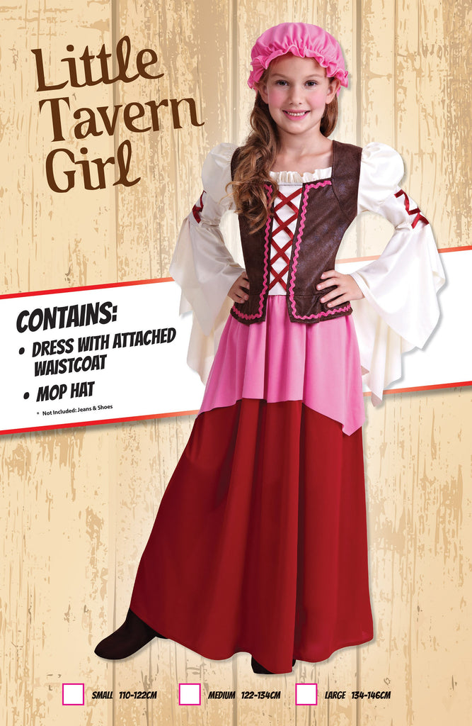 Little Tavern Girl (L) Pack Contents : Dress (attached waistcoat), Mop Hat Female Kids To fit child of height 134cm 146cm Colour : White Pink