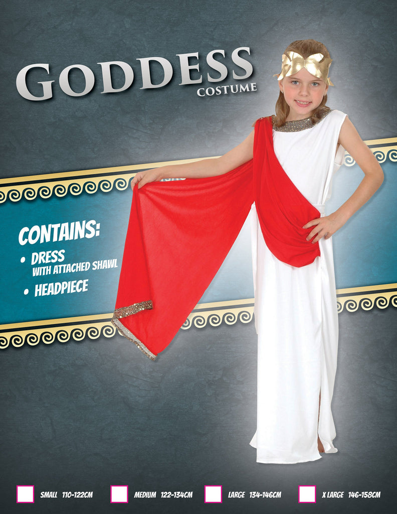 Goddess (XL) Pack Contents : Dress with belt, Headpiece Female Kids To fit child of height 146cm 159cm Colour : White Red