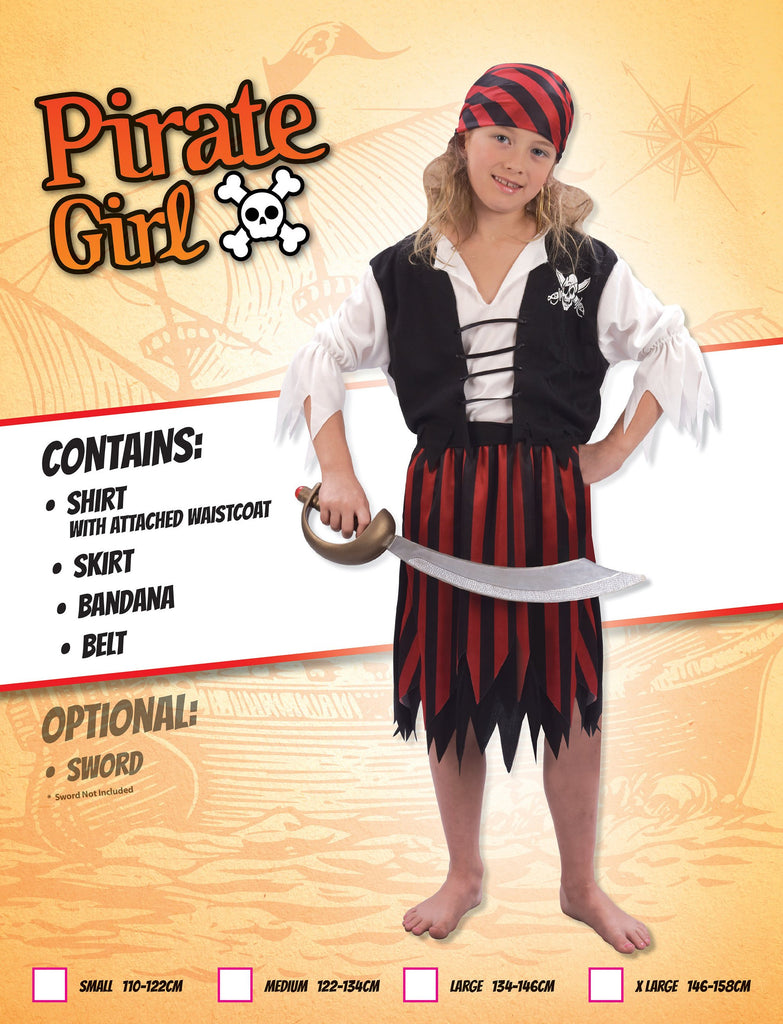 Pirate Girl (XL) Pack Contents : Headpiece, Shirt with vest, Skirt with belt Female Kids To fit child of height 146cm 159cm Colour : White Black