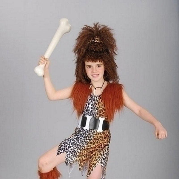 Girls Cavegirl Costume + Wig (Large) Childrens Costumes - Female - Large, 9-12 Years. Halloween Costume