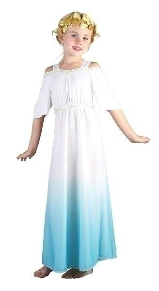 Roman Goddess Large Childrenss Girls Large 9 12 years White Blue